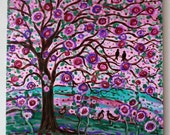 Large original painting Folk tree and black birds in light pink rose, purple,violet and green by Vadal