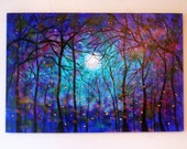 Large original oil painting  fireflies Blue Moon Summertime 36 x 24 by Vadal
