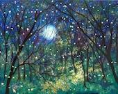 Fireflies under springtime moon premium print  8x10 Vadal- all prints  buy 2 g1 free