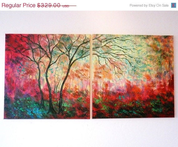 45% off thru Sun Large Original oil painting Abstract  contemporary modern Red Fall trees 48 x 24  by Vadal