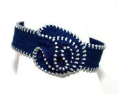 Was 18.00 - Zipper Rosette Bracelet- Blue 06- SALE