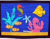 Fish Art Quilt Wall Hanging, Tropical Aquarium Quilt, Quiltsy Handmade