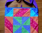 Quilted Tote Bag, Purse, Colorful Quilt Block Purse, Cross Body Bag, Quiltsy Handmade
