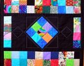Diamond Art Quilt Wall Hanging, Scrap Quilt, Patchwork Quilt, Textil Wall Hanging, Quiltsy Handmade
