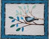 Bird Chatter, Appliqued Art Quilt Wall Hanging