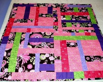 Art Quilt Wall Hanging, Cotton Candy, Pink Purple, Quiltsy Handmade