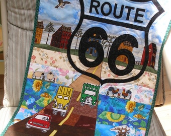 Route 66 Art Quilt Wall Hanging, Cars, Road Travel, Nostalgia, Quiltsy Handmade