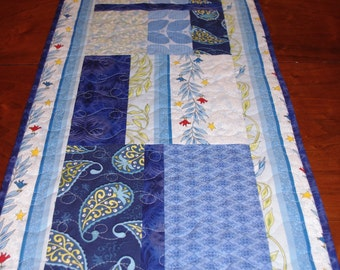 Blue Quilted Table Runner, Contemporary, Modern Blue Runner, Quiltsy Handmade