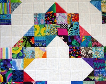 Quilted Wall Hanging, Lap Quilt, Scrap Quilt, Quiltsy Handmade