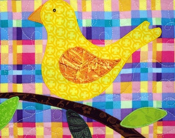 Whimsical Little Yellow Bird Quilted Wall Hanging, Canary on a Branch, Gift under 40, Quiltsy Handmade