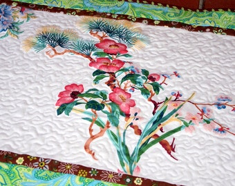 Flowers Quilted Table Topper, Table Runner, Floral Dresser Topper, Quiltsy Handmade