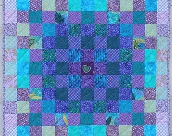 Purple Quilted Wall Hanging, Table Centerpiece, Quiltsy Handmade