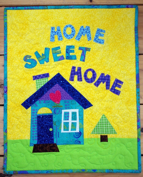 """Applique Art Quilt, Wall Hanging, """"Home Sweet Home"""""""