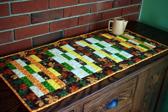 Quilted Autumn Fall Table Runner, Quiltsy