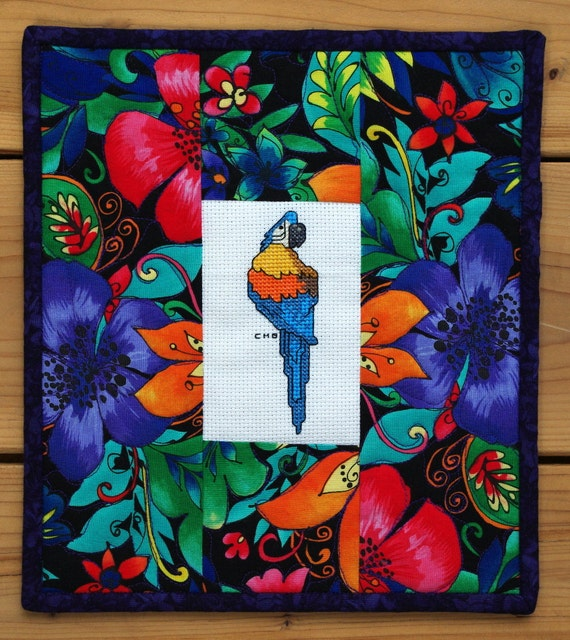 Quilted Parrot Cross Stitch Wall Hanging, Gift under 40