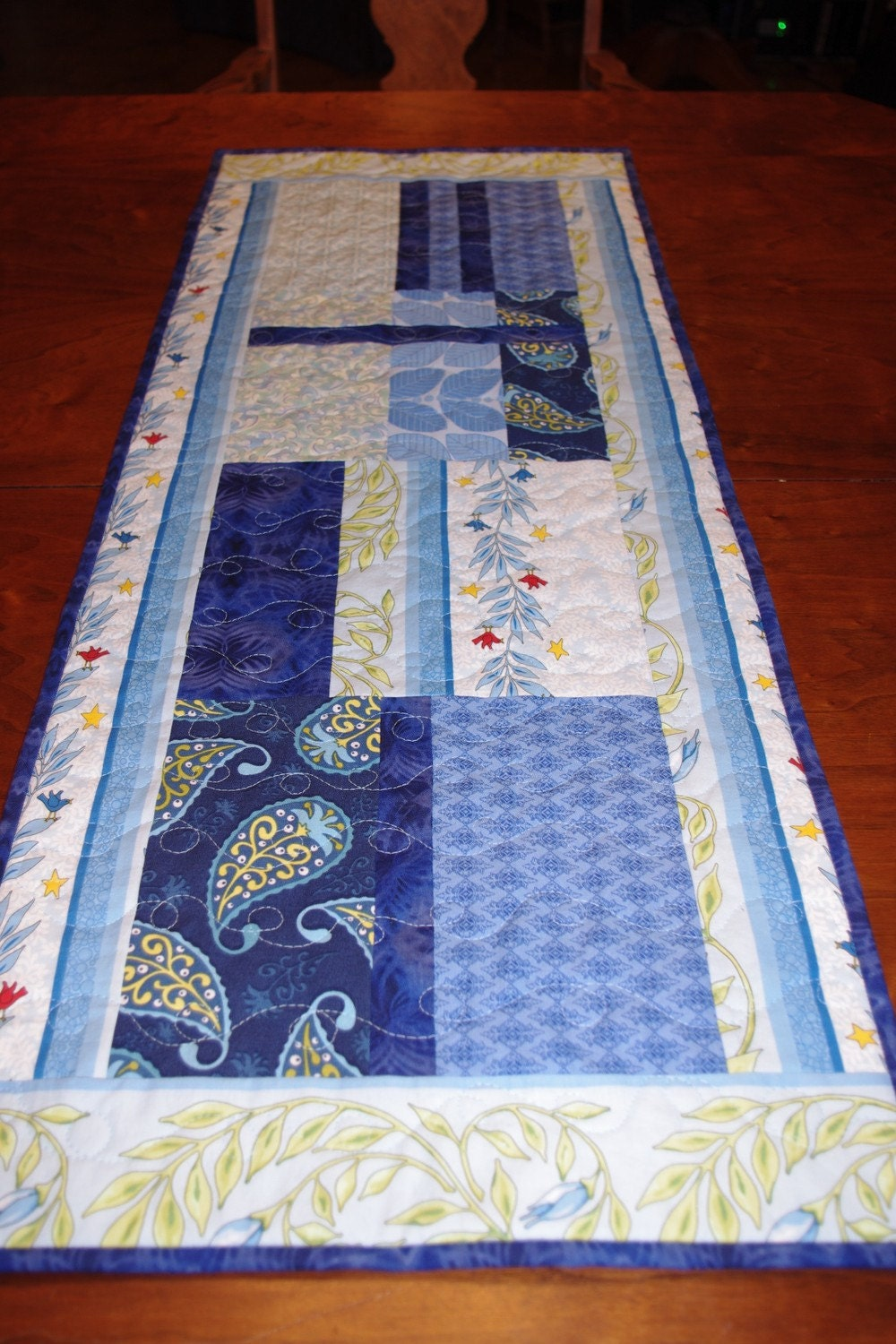Blue Quilted Table Runner Contemporary Modern Blue Runner
