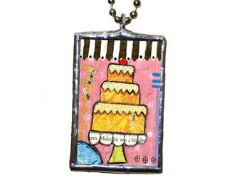 Cake Collage Art Soldered Glass Ball Chain Necklace