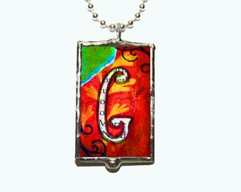 Bohemian Rhapsody Soldered Glass Initial Pendant Necklace in the Letter E