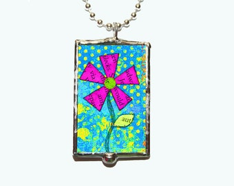 Dream Flower Collage Soldered Glass Silver Plated Ball Chain Necklace