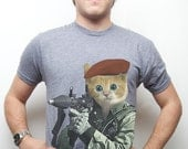 Men's Kitty, Cat, Kitten with RPG, Mens Cat t-shirt, GI Kitty, American Apparel, Gift for Him, Dude, Funny Tee, Sizes Available S-4XL