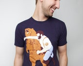 Mens Bear Punch t-shirt Unisex Navy American Apparel Available S M L XL 2XL - sharpshirter