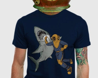 Mens Shark Punch T-shirt, Shirts, Awesome Animal Tees, Navy Graphic Tee, Cool Shark T Shirt, Gift for guys, Available Men's S - 2XL