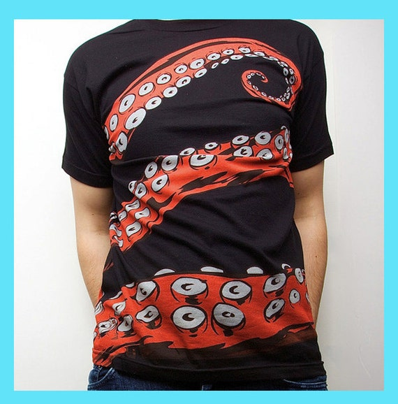 Octopus Tshirt, Tentacle tee, Octohug Black Cotton t-shirt