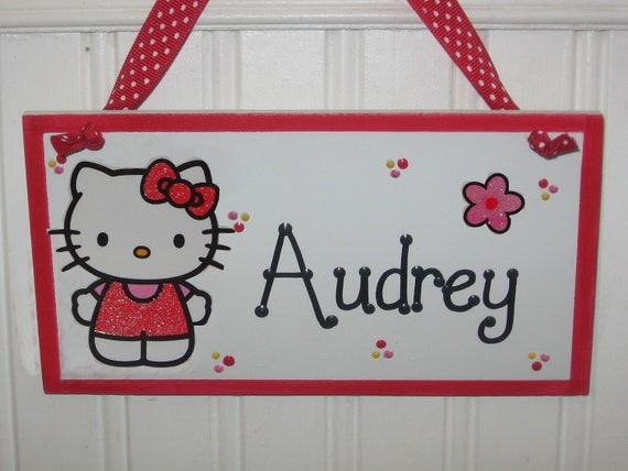 Personalized Handpainted Hello Kitty Wood Sign for Girls-Door or Wall Hanging