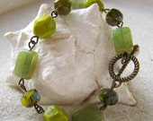 Antique Brass and Chartreuse Green - Bracelet