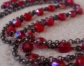 Red Beaded Necklace with Black Chain - mompotter