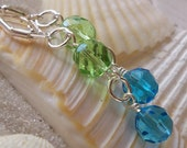 Aqua Blue and Peridot Green Earrings