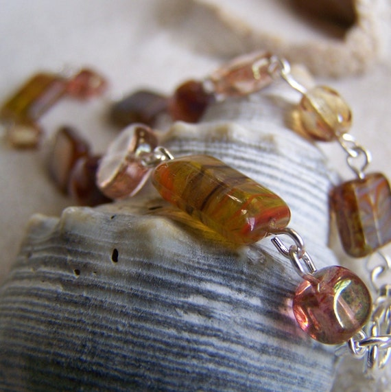 Champagne Pink, Orange, Coral, Brown Bracelet  - Indian Summer Series