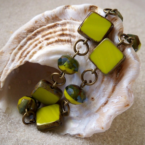 Chartreuse Green Square Bead Bracelet