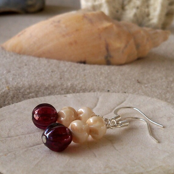 SALE - Ivory and Deep Red Melon Bead Earrings