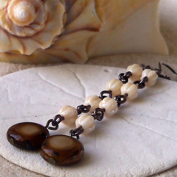 Long Milky Topaz Coin Bead Earrings with Cream Melon Beads