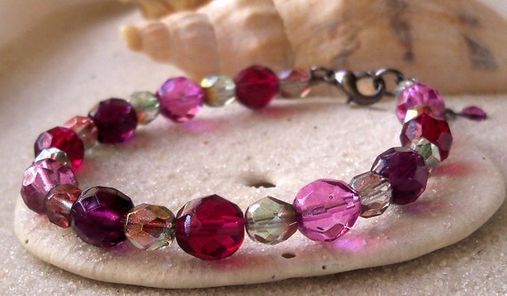 Amethyst and Cranberry Bracelet