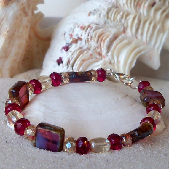 Cranberry and Champagne Bracelet with Square Beads