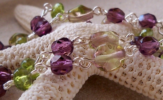Amethyst and Peridot Green Necklace