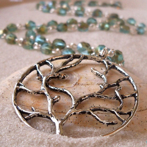 Tree of Life Pendant with Aqua Glass Bead Necklace