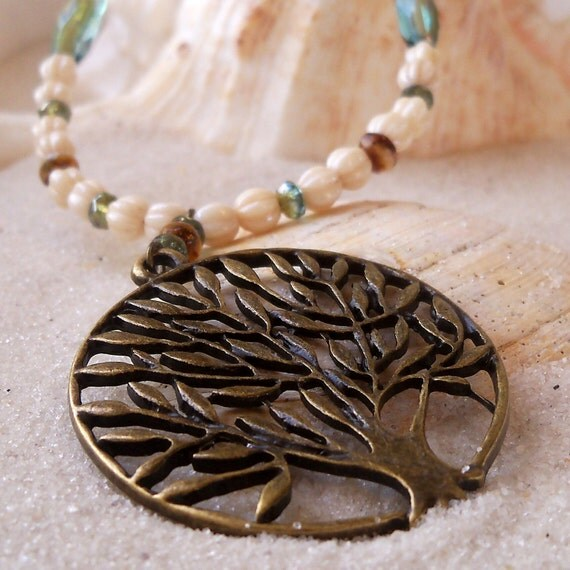Celsian Aqua and Cream Beads with Tree of Life Pendant - Necklace