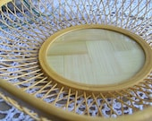Bamboo Serving Basket with Needlework Display Area, Hexagonal