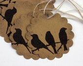 Black Bird Triplets - Set of 6 Scalloped Tags