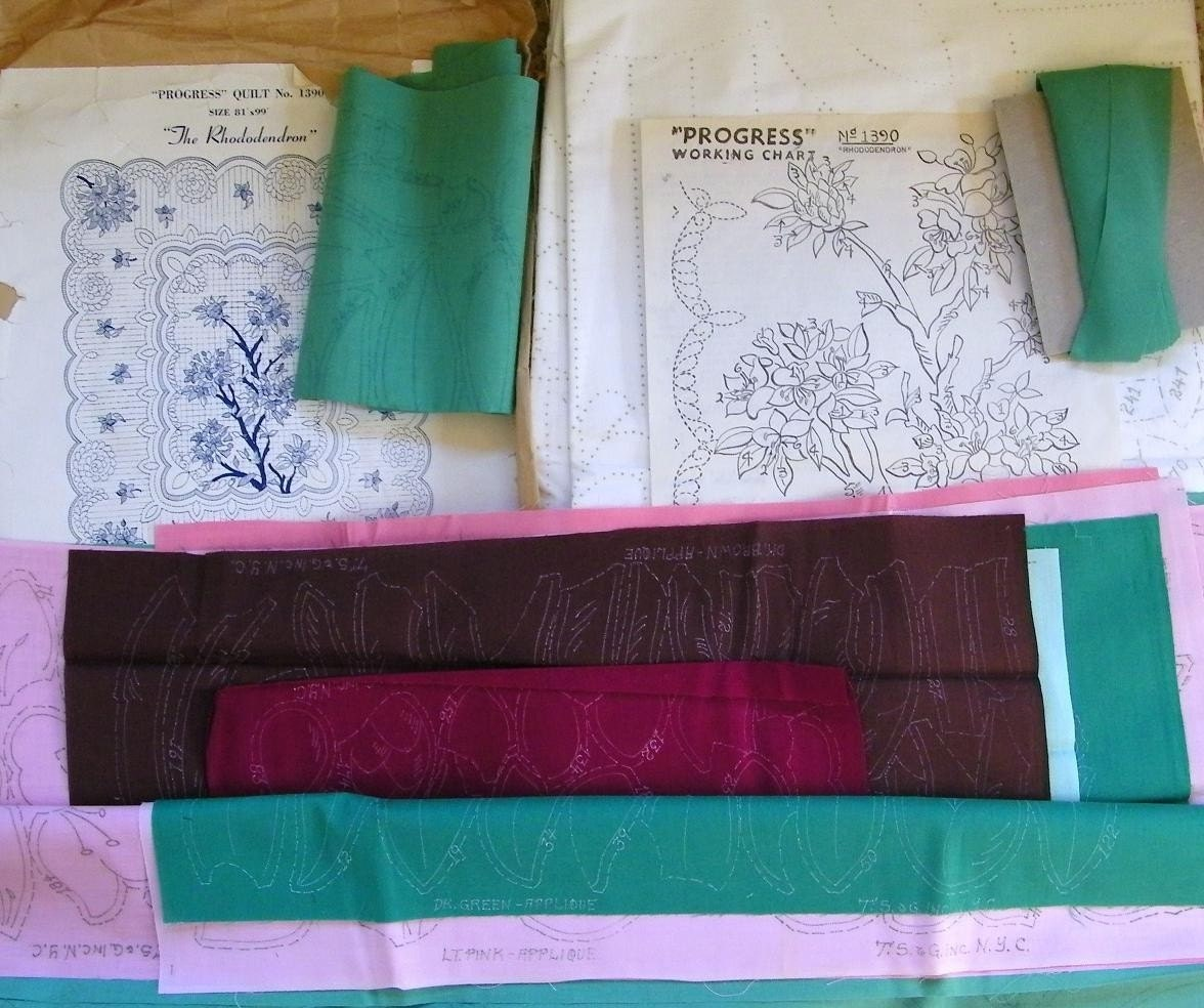 Vintage Quilt Kit For Making Progress The Rhododendron Quilt