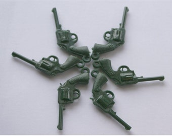 Plastic Pistols--Set of 6 green gun charms