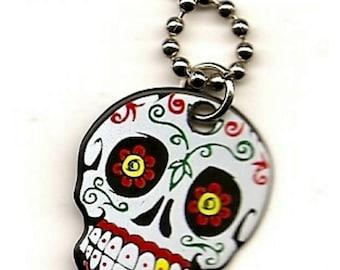Sugar skull guitar pick necklace