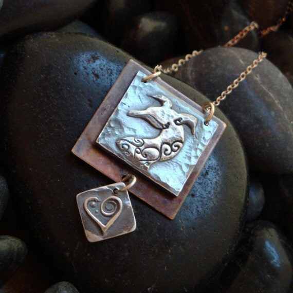Vintage Heart Greyhound Necklace