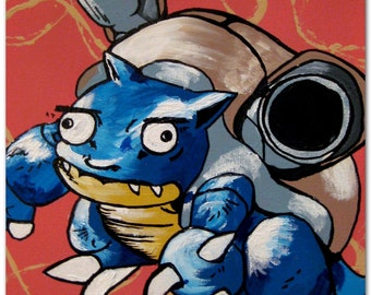 Blastoise is confused derpy pokemon painting on canvas - Derpy squirtle ...