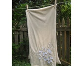 Floral Hand Stitched Creme Jersey Scarf