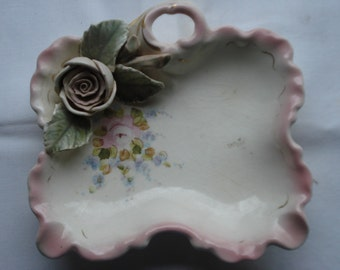 Dish with dainty Pink Rose