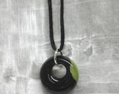SALE - Black and Olive Green Fused Glass Mini Pendant